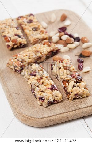 Granola Bars With Nuts, Seeds And Cranberries