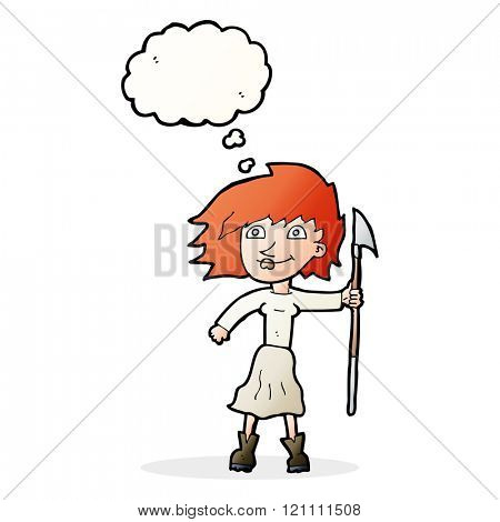 cartoon woman with spear with thought bubble