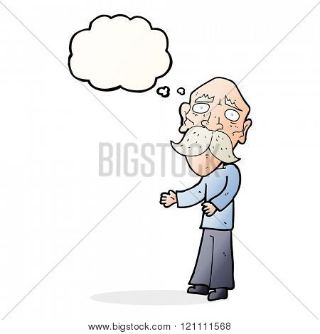 cartoon lonely old man with thought bubble