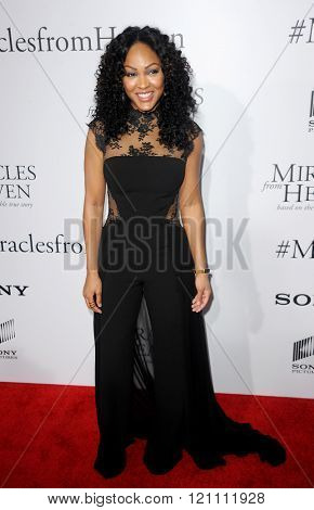 Meagan Good at the Los Angeles premiere of 'Miracles From Heaven' held at the ArcLight Cinemas in Hollywood, USA on March 9, 2016.