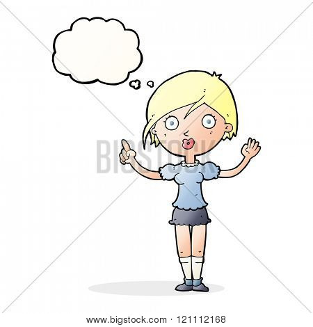 cartoon girl asking question with thought bubble