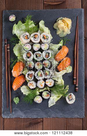 Sushi Set On A Slate Stone