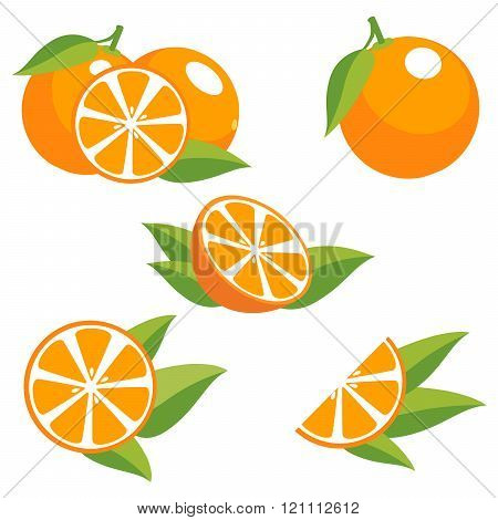 Orange fruit with leaves.