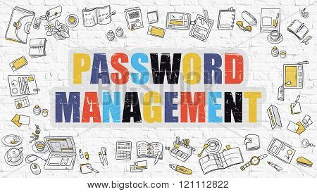 Password Management Concept with Doodle Design Icons.