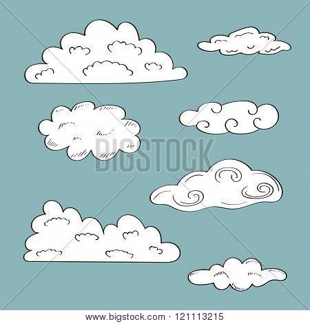Set of doodle sketchy clound on blue background.
