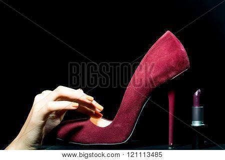 Female Shoe And Lipstick