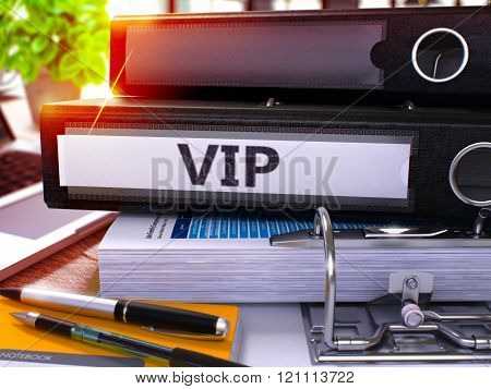 VIP on Black Office Folder. Toned Image.