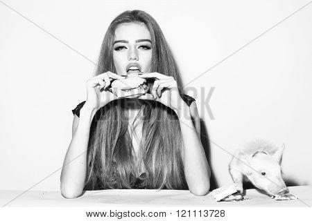 Girl Pig And Burger