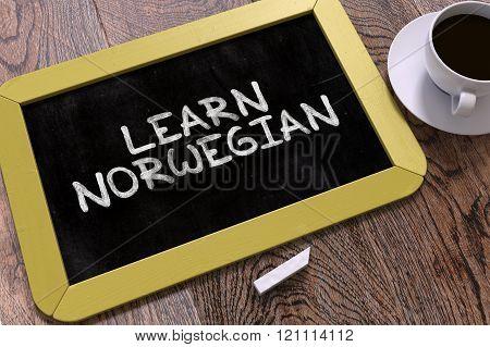 Learn Norwegian Concept Hand Drawn on Chalkboard.