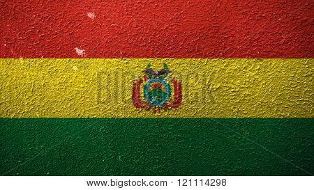 Flag of Bolivia, Bolivian flag painted on cracked paint