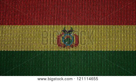 Flag of Bolivia , Bolivian flag painted on stitch