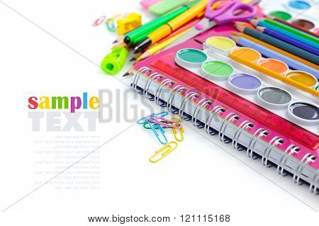 Office And Student Accessories On A White. Back To School Concep