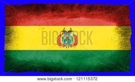 Flag of Bolivia , Bolivian flag painted on paper texture