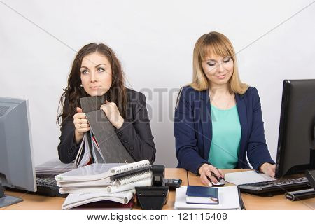 Female Colleagues In The Office, One Hates To Work, Like A Second Job