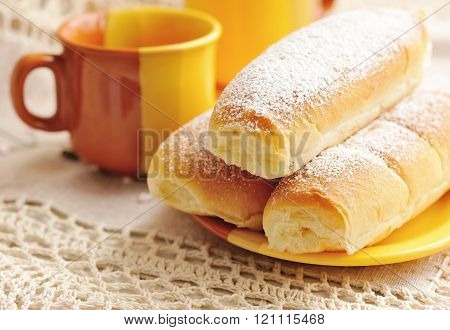 Panini. Italian Buns With Sweet Cream On White Background