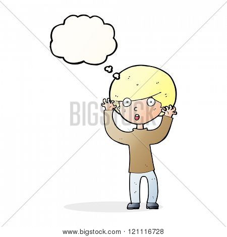 cartoon startled boy with thought bubble