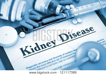 Kidney Disease Diagnosis. Medical Concept. 3D.
