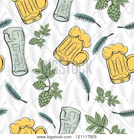 Color seamless pattern background with wheat ears. For packaging in your cafe, bar, pub, tavern, bre