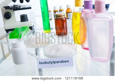 Noxious additives in cosmetics. Laboratory with chemical substances.