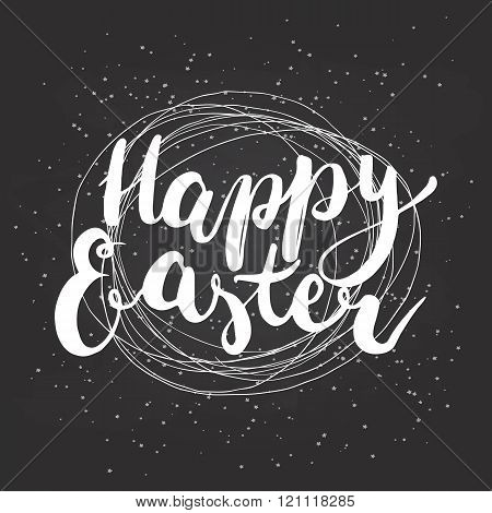 Happy Easter typographic lettering greeting card with calligraphic phrase Happy Easter  with nest.