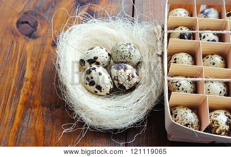 Quail Eggs On Wooden Background