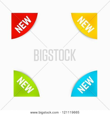 Set Of Round Corner New Labels In Different Colors