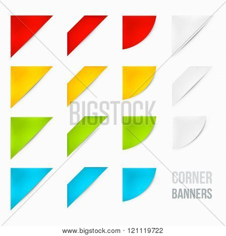Set of Corner Banners. 15 Corner Banners. Corner Ribbons. Side Banners.