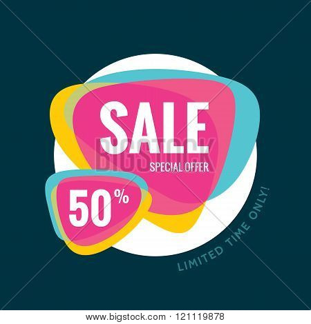 Sale abstract vector banner - special offer 50% - limited time only. Sale vector banner.