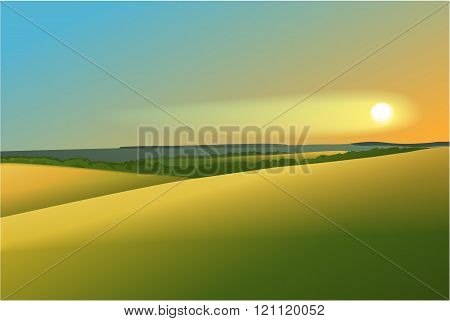 Rural landscape with sunset