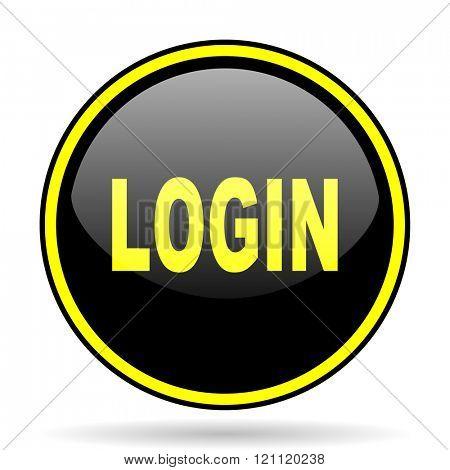 login black and yellow modern glossy web icon
