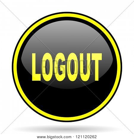 logout black and yellow modern glossy web icon