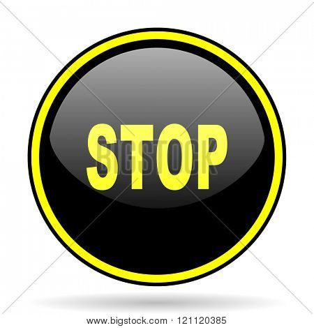 stop black and yellow modern glossy web icon