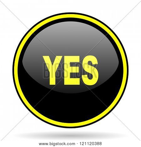 yes black and yellow modern glossy web icon