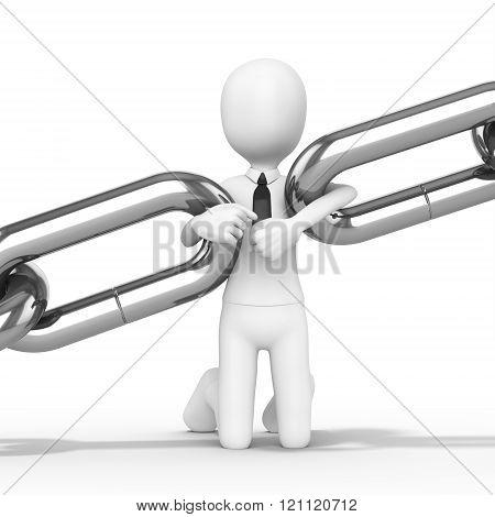 3D Man Businessman Kneeling Holding Chain Together