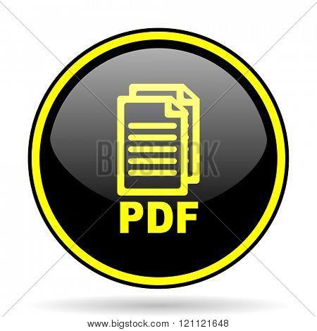 pdf black and yellow modern glossy web icon,