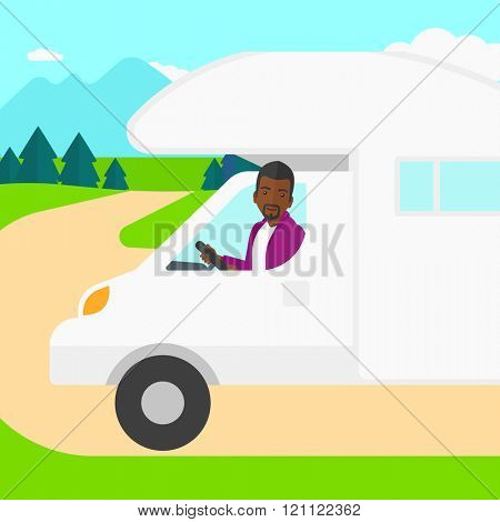 Man driving motor home.