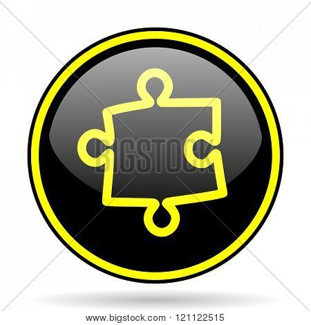 puzzle black and yellow modern glossy web icon