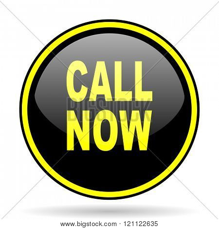 call now black and yellow modern glossy web icon