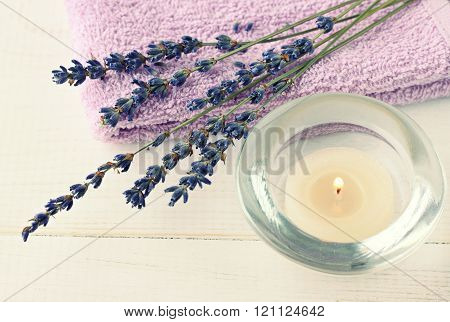 lavender and aroma tea candle