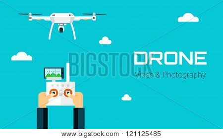 Remote aerial drone with a camera taking photography or video recording . Vector art on isolated bac