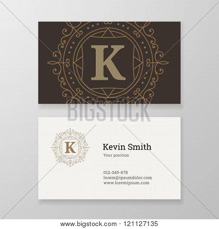 Business Card Ornament Emblem Letter K Template Design.