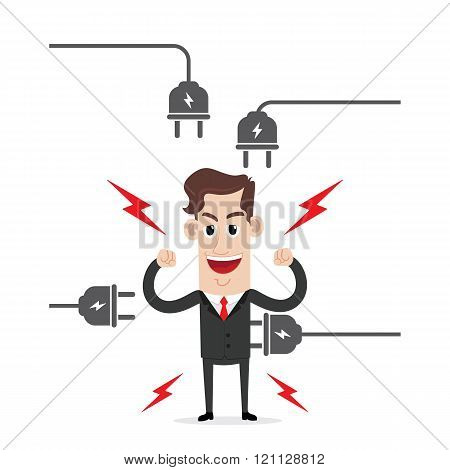 Strong businessman with electric plug