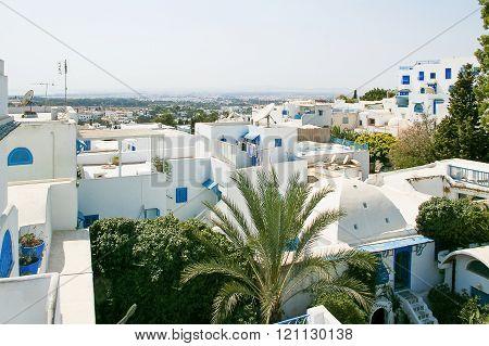 Traditional White And Blue Houses In Sidi Bou Said, Tunisia.