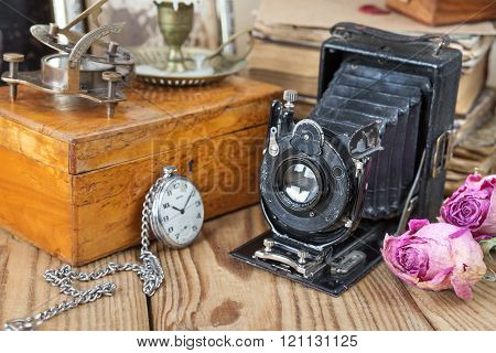 Vintage Photo Camera, Pocket Watches  And Dried Roses