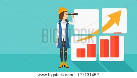 Woman looking at positive bar chart.