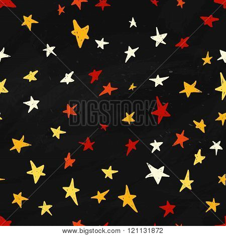Vector star pattern. Colorful star pattern in cartoon style. Star pattern on dark night background.