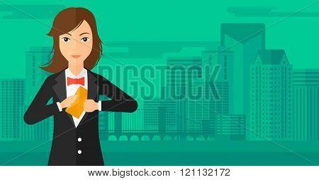 Woman putting envelope in pocket.