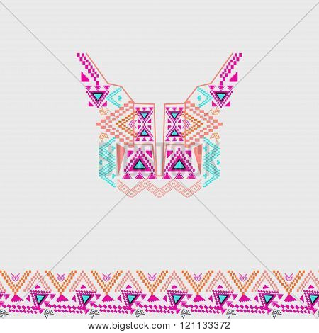 Neckline Design With Border In Ethnic Style For Fashion. Aztec Neck Print. Electro Boho Color Trend