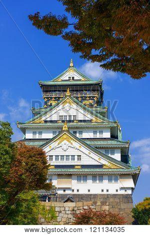 Osaka Castle in Osaka, Japan. Osaka Castle is a Japanese castle