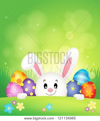 Easter eggs and lurking bunny theme 1 - eps10 vector illustration.